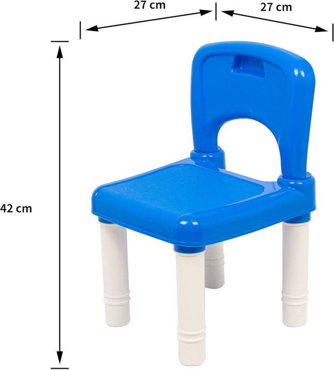 Decopatent® - Kindertafel met 2 Stoeltjes - Speeltafel met bouwplaat en vlakke kant - 4 Bakjes - Geschikt voor Lego® Bouwstenen