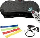 LifeGoods Fitness Trilplaat - Vibration Plate - Bluetooth speaker - 180 Niveaus - Weerstandskabels - Elastieken - Afstandsbediening - Zwart