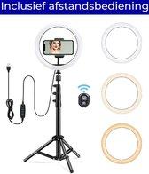Led Ringlamp Met Statief  – Incl Telefoonhouder - Ring Light Lamp - TikTok – Vlog – Selfie - Bluetooth Afstandsbediening