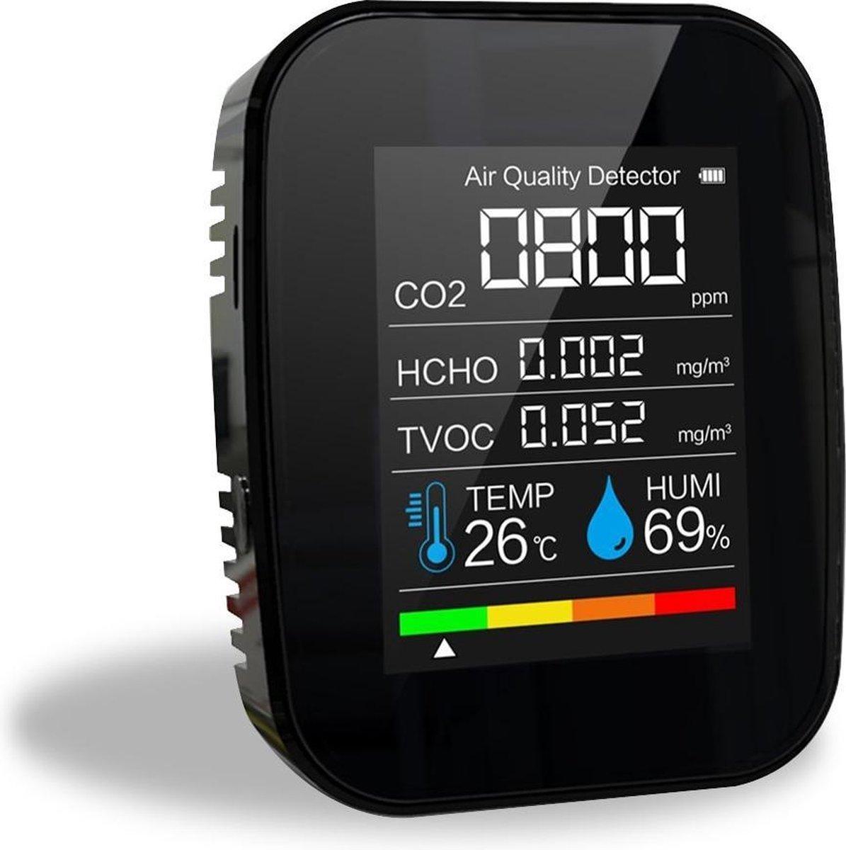 Horeca. 5 in 1 Luchtkwaliteitmeter Draagbaar LCD Scherm Monitor CO2 TVOC HCHO TEMP HUMI - Luchtvocht