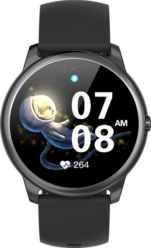 Belesy® VELVET - Smartwatch Dames - Smartwatch Heren - Horloge - 1.3 inch – Hoge resolutie kleurenscherm – Maak je eigen wijzerplaat - Stappenteller - Bluetooth bellen – Siliconen - Zwart