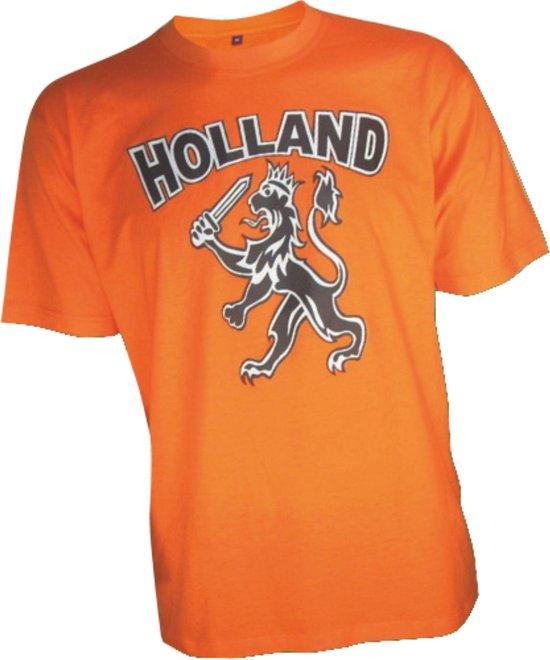 T-shirt oranje Holland met leeuw kids  EK Voetbal 2020 2021   Nederlands elftal kinder shirt   Nederland supporter   Holland souvenir   Maat 128
