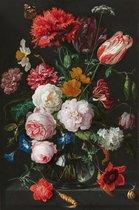 Fotobehang op zwaar vinyl - Jan Davidsz de Heem - Stilleven met bloemen - breed 140 cm x hoog 212 cm. Vinylbehang 350 grams . Art. F029.21V-140