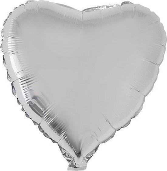 Folie ballon hart zilver 52 cm - Hartjes ballonnen