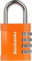 Fortlocks Cijferslot 4 Cijferig - Sterk Hangslot Met Cijfer Sluiting - Combinatie Code Padlock - Weerbestendig Buiten Slot - Fiets - Orange - 1 Stuk