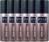 6 x Vogue Men Spiced Wood Parfum Deo - 6 x 150 ml voordeelverpakking