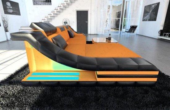 Lederen Hoekbank TURINO L met LED + SALONTAFEL -