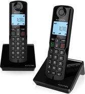 Alcatel S250 Duo draadloze Dect huistelefoon voor vaste lijn | Verlicht display | 3 directe geheugen toetsen | Telefoonboek voor 50 namen en nummers | Handsfree bellen | Oproep blokkeerfunctie |  Zwart
