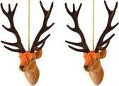 3x Kerstboomhangers bruine herten 13 cm kerstversiering - Bruine kerstversiering/boomversiering - Kerstornamenten
