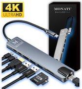 Monati 8 in 1 USB C Hub Adapter - splitter voor Ethernet , HDMI , micro SD , USB 3.0 en USB-C - Geschikt voor Macbook Pro, Air, iMac, Chromebook, HP, Lenovo, Acer en Asus laptop