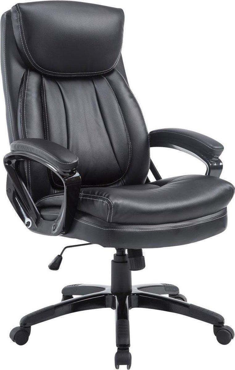 Bureaustoel - Bureaustoel voor volwassenen - XL - Hoofdkussen - Kunstleer - Zwart - 65x74x120 cm