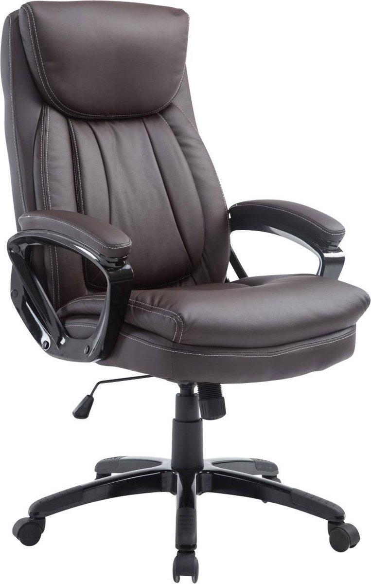 Bureaustoel - Bureaustoel voor volwassenen - XL - Hoofdkussen - Kunstleer - Bruin - 65x74x120 cm
