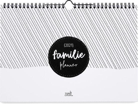 Afbeelding van Zoedt - familieplanner 2021 - A4 - zwart wit - ringband