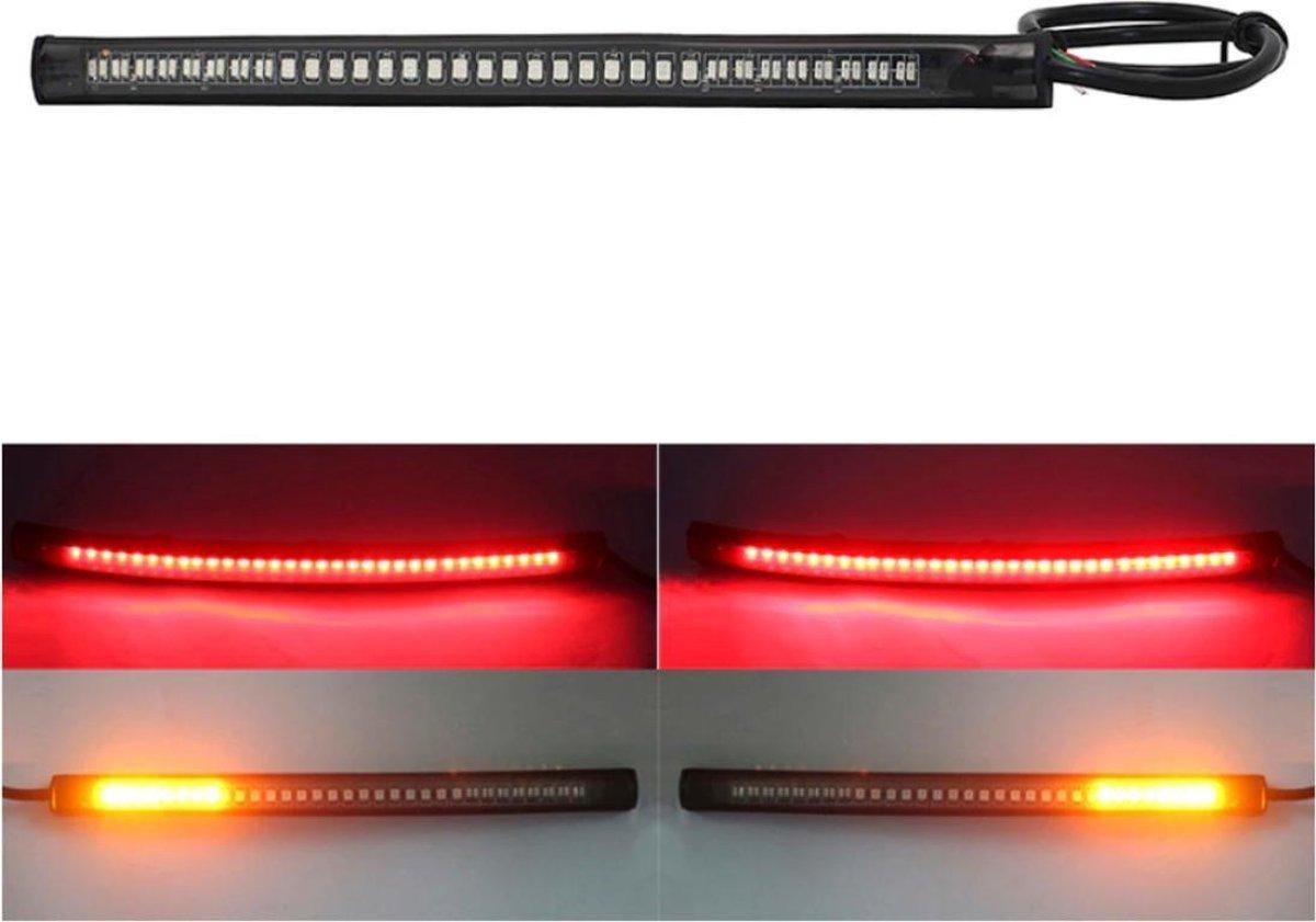 Knipperlicht en remlicht strip voor motorfiets / 19.8 cm breed / Rood remlicht + Gele knipperlichten
