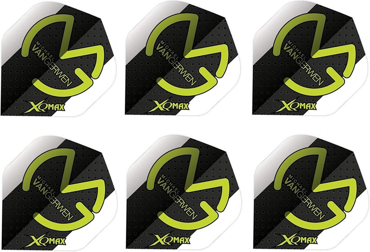 XQ Max Michael van Gerwen Flights polymeer Standaard A - 100 micron - Groen / Wit / Zwart 6 stuks