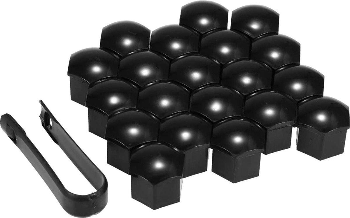 Wielmoerkapjes 17 mm - Zwart Glans - Kunststof - Set van 20 stuks incl. tweezer tool - Universeel