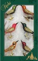 6x Luxe glazen gekleurde vogels op clip 9 cm - Decoratievogeltjes - Kerstboomversiering