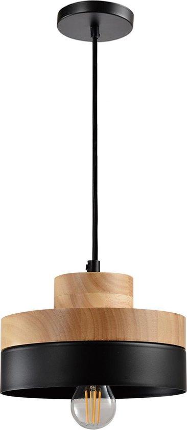 QUVIO Hanglamp Scandinavisch / Plafondlamp / Sfeerlamp / Leeslamp / Eettafellamp / Verlichting / Slaapkamer lamp / Slaapkamer verlichting / Keukenverlichting / Keukenlamp - Rond tweelaags metaal en hout - Diameter 18 cm