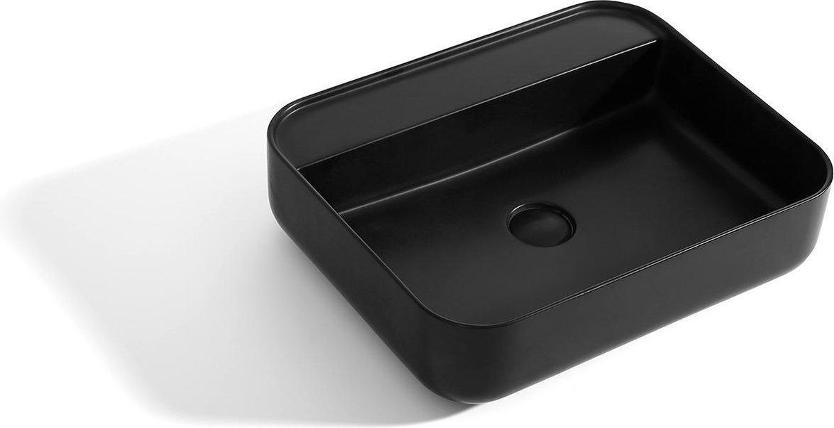 Mawialux opzet waskom | Solid surface | 50x40 cm | Mat zwart | ML-1008WB-Z