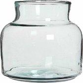 Transparante lage melkbus vaas/vazen van glas 20 x 21 cm - Woonaccessoires/woondecoraties - Glazen bloemenvaas - Boeketvaas - Melkbusvaas/melkbusvazen