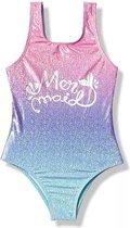Badpak Mermaid maat 116/122 zeemeermin  roze lila blauw zilver holografisch effect