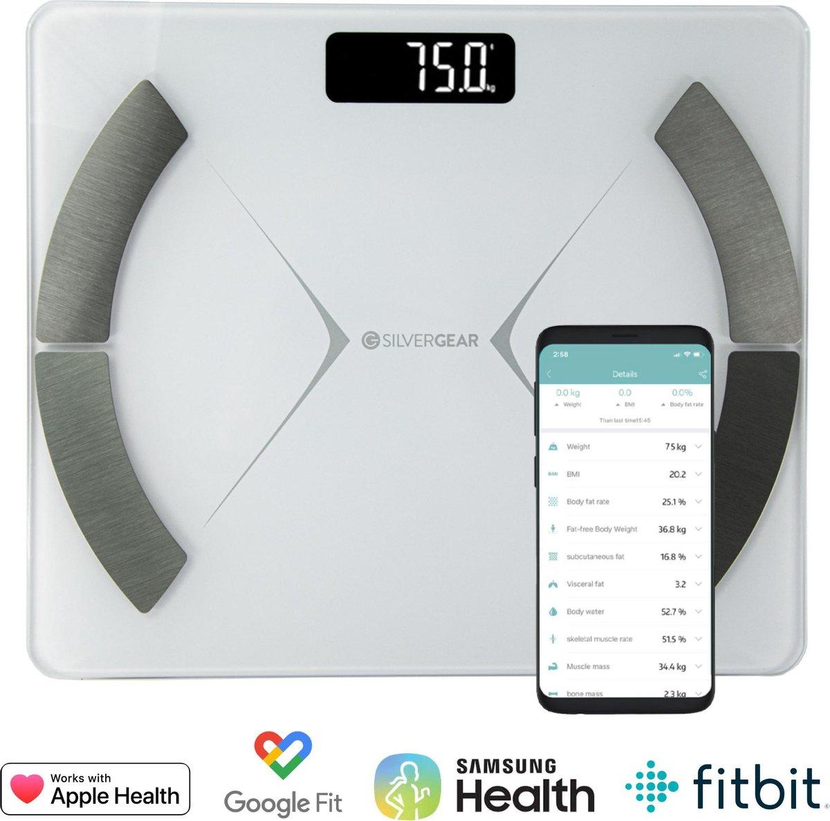 Silvergear - Smart Scale met lichaamsanalyse - App - Wit