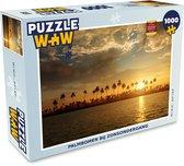 Puzzel Zonsondergang 1000 stukjes - Palmbomen bij zonsondergang