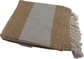 Deco4yourhome - Plaid - Deken - Woondeken - 160x130cm - Beige - Wit