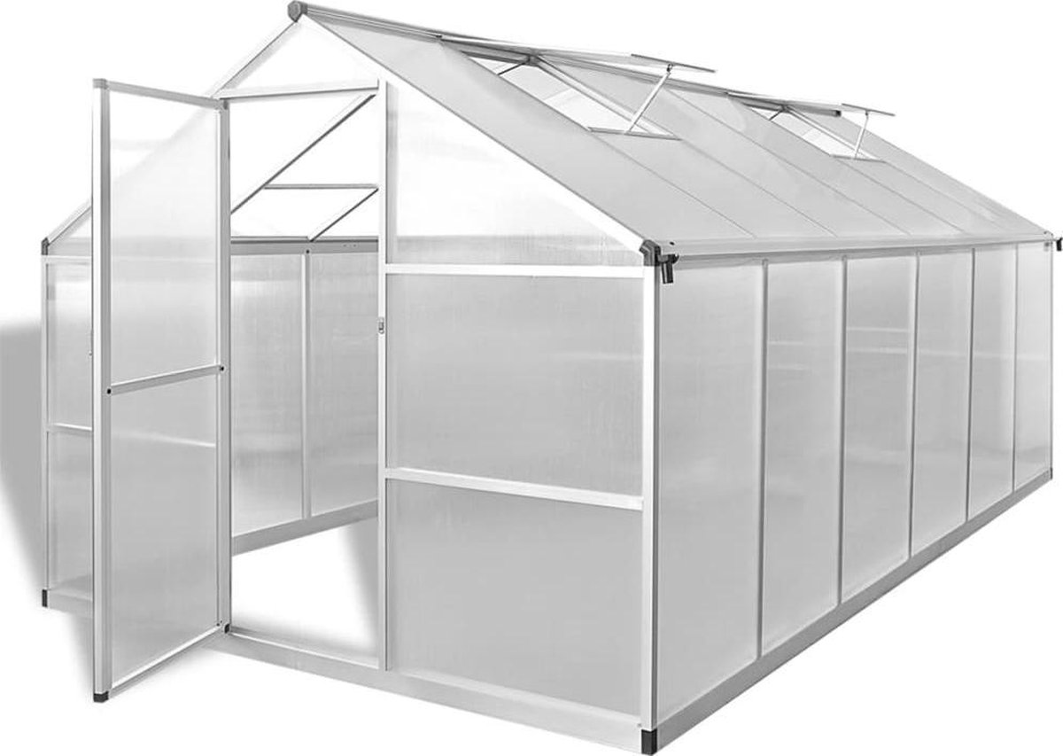 vidaXL Tuinkas versterkt aluminium met basisframe 9,025 m² - vidaXL
