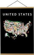 Kaart van de Verenigde Staten van Amerika   B2 poster   50x70 cm   Maison Maps