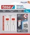 4x stuks Tesa klevende spijkers verstelbaar - wit - voor gevoelige oppervlakte als behang en pleisterwerk - draagkracht 1 kg - spijker / schroeven