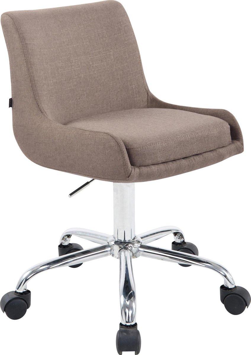 Bureaustoel - Kantoorstoel - Design - In hoogte verstelbaar - Stof - Taupe - 43x34x87 cm