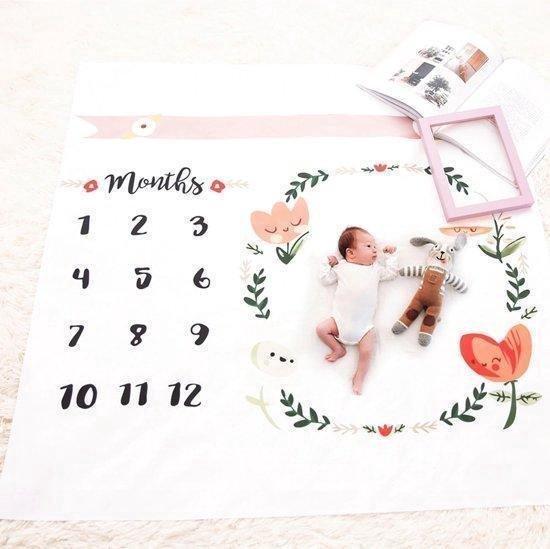 Afbeelding van Mijlpaaldeken inclusief frame|Foto herinnering|Milestone blanket|Newborn|Kraamkado|Baby geboorte