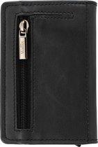 Wallix® Luxe Pasjeshouder - Uitschuifbaar - Unisex Portemonnee - 100% RFID Veilig - Leren Creditcardhouder - Zwart/Zwart