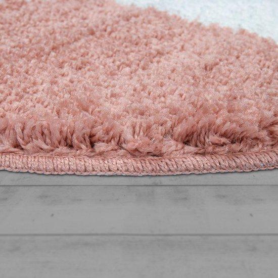 Bol Com Trendy Design Badkamer Vloerkleed Shaggy Badmat Ster Roze Wit Rond 60 Cm