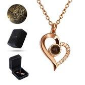 Luxore® I Love You Ketting in 100 Talen Cadeautje voor Vrouw – Liefdes Verrassing – Geschenkset - Rose Goud - Valentijnsdag Man & Vouw - Valentijn Hem & Haar