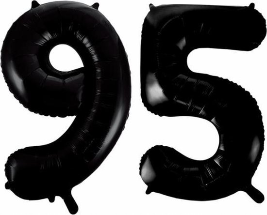 Folieballon 95 jaar zwart 41cm