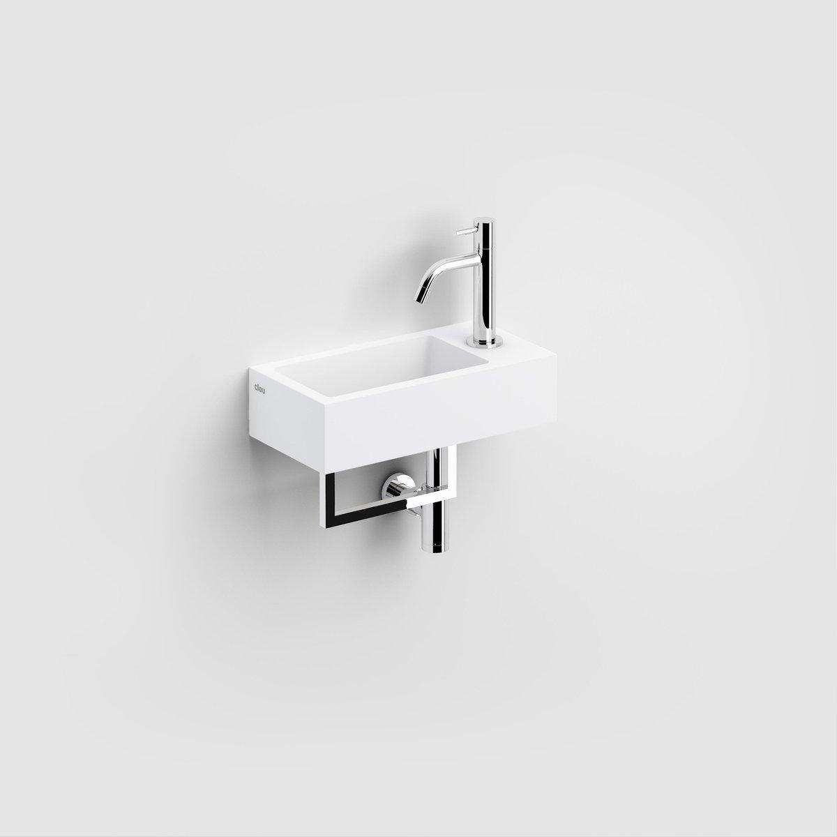 Clou Flush 3 fontein 36cm voorbewerkt kraangat rechts met handdoekhouder aluite wit