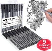 ARTECO® 9 Pigment Liners – Fineliners - Handlettering – Gepigmenteerde inkt - Schrijven – Schetsen – Pennen