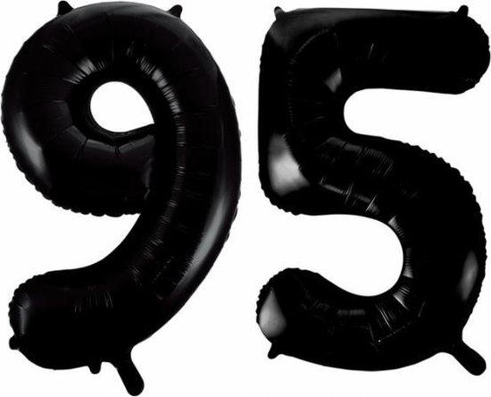 Folieballon 95 jaar zwart 86cm