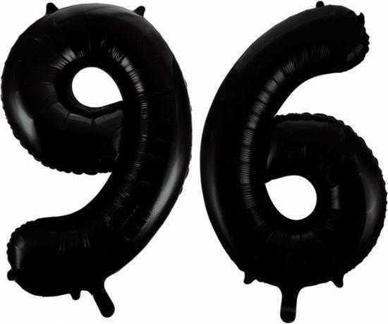 Folieballon 96 jaar zwart 86cm