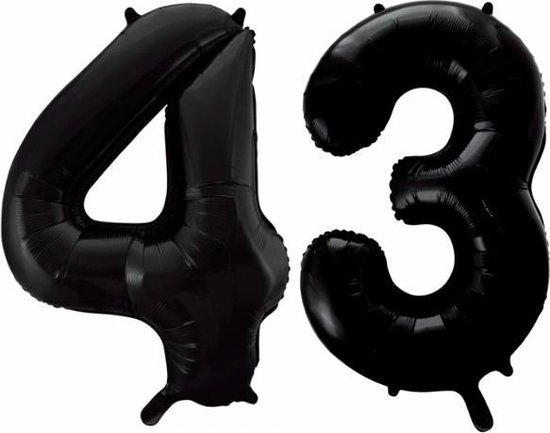 Folieballon 43 jaar zwart 86cm
