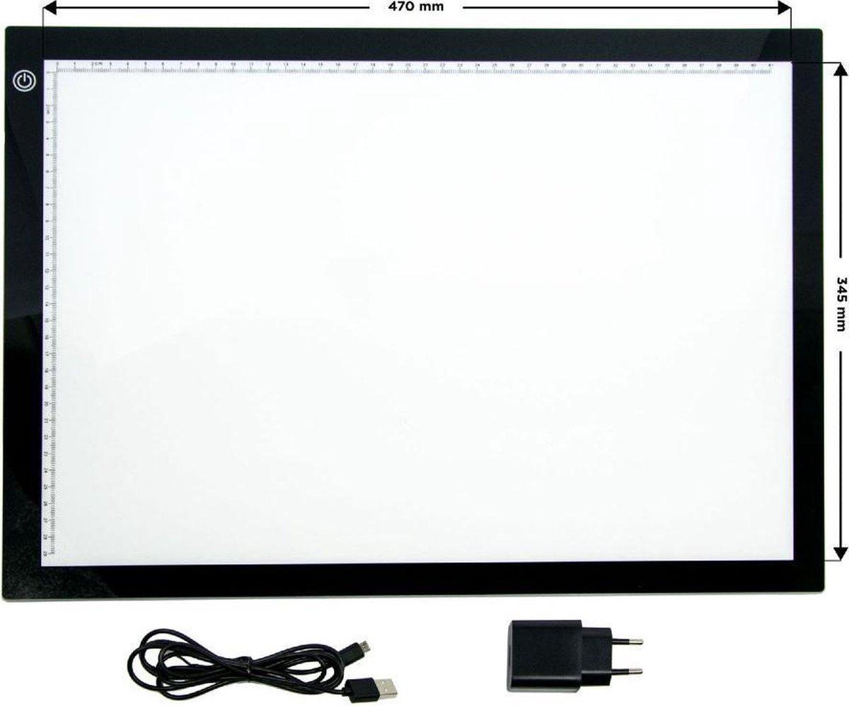 Lightpad a3 met 3 lichtstanden| tekenbord - tekenplaat - tekentafel - met liniaal - tekeborden - groot - xl - xxl - dimbaar - lightpads - USB + adapter