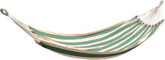 Liviza hangmat groen - wit   Katoen en polyester - 2 persoons