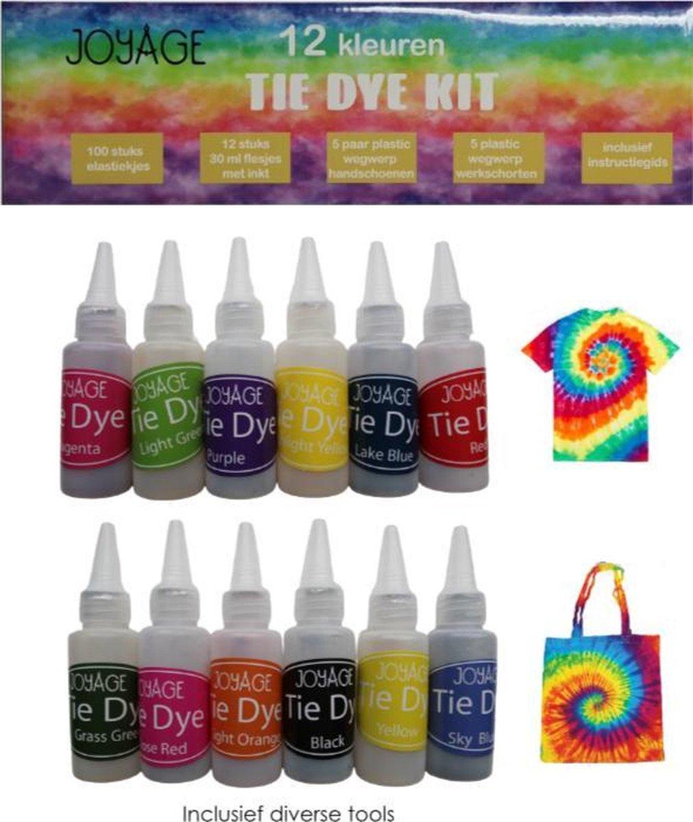 Tie Dye Kit Verf - 12 kleuren - Tie dye verf set - Tie dye set - Batik Verf Paket - Wasmachinetextie