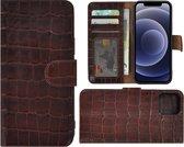 Iphone 12 Mini Hoesje - Leder Bookcase - Iphone 12 Mini Hoesje Book Case Wallet Echt Leer Croco Bruin Cover