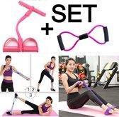 Allernieuwste Set Weerstandbanden Fitness Elastiek - Full Body Workout - Buikspier training - Elastische Sit-Ups Trekkoorden - Roze