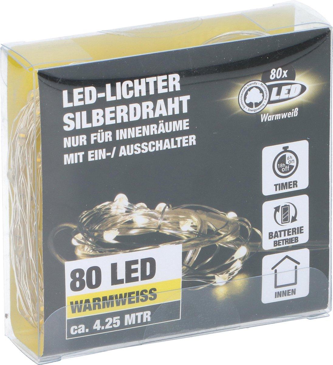80 led warm wit ledsnoer, kerstlampjes 425cm, kindercrea