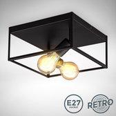 B.K.Licht - Plafondlamp - zwart - industrieel - metaal -  kooi - plafoniere - woonkamer - slaapkamer - excl. E27
