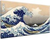 The Great Wave off Kanagawa. 120x80cm Kunstwerk Gedrukt op 100% katoen. Uitgerekt Op Frame. Muurhanger geïnstalleerd